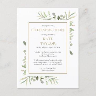greenery celebration of life funeral invitation