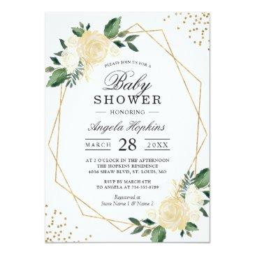 Small Greenery Floral Gold Glitters Baby Shower Brunch Invitations Front View