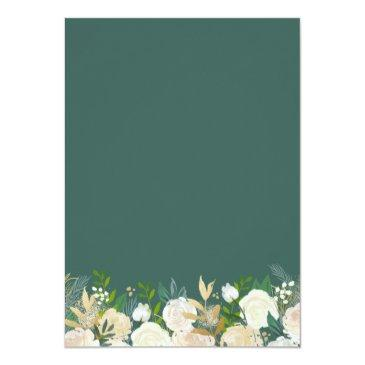Small Greenery Floral Gold Glitters Baby Shower Brunch Invitations Back View