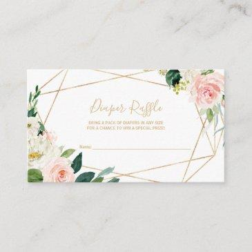 greenery & gold geometric elegant diaper raffle enclosure invitations