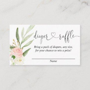 greenery pink girl baby shower diaper raffle invitations