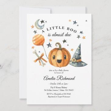 halloween pumpkin little boo baby shower invitation