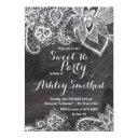 hand drawn floral lace black chalkboard sweet 16 invitation