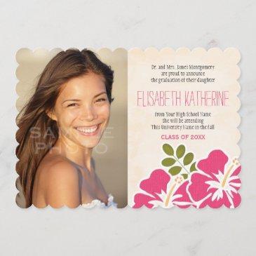 hawaiian graduation announcements invitations pink