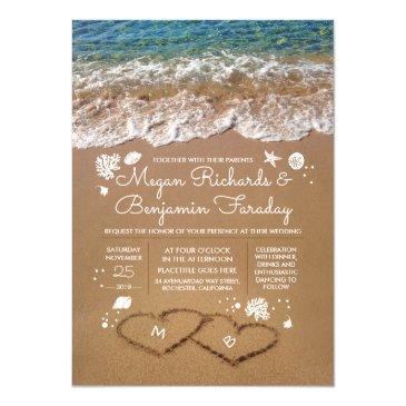 hearts in the sand summer beach wedding