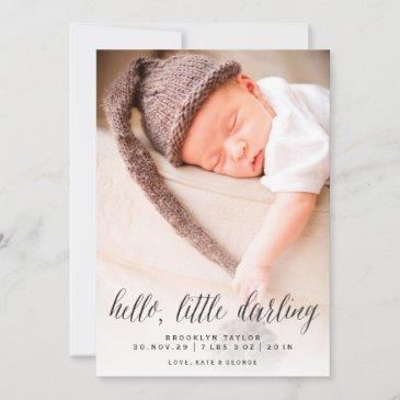 hello little darling modern minimalist photo birth announcement