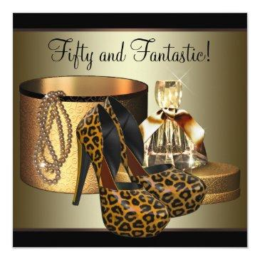 high heel shoes leopard gold womans 50th birthday invitation