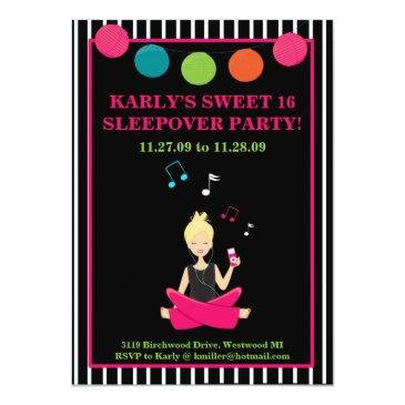hip retro modern sassy girl birthday invitations