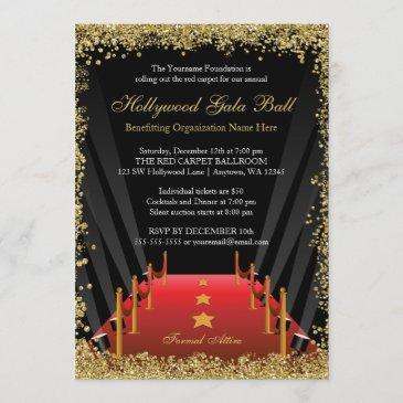 hollywood gala ball red carpet glitter invitation