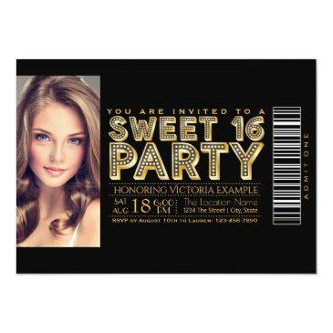 Small Hollywood Glam Sweet 16 Ticket Black And Gold Front View