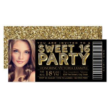 hollywood glam sweet 16 ticket black and gold