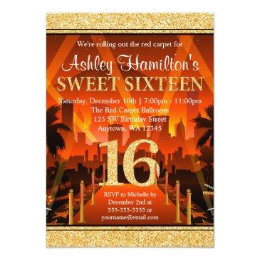 Small Hollywood Red Carpet City Gold Glitter Sweet 16 Invitations Front View