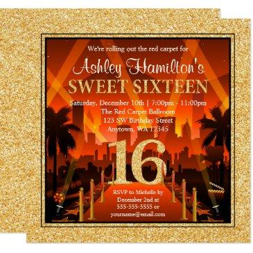 hollywood red carpet city gold glitter sweet 16 invitation
