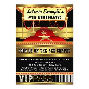 Small Hollywood Red Carpet Party Invitations Front View