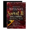 hollywood red carpet stairs sweet 16 birthday invitation