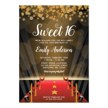 Small Hollywood Red Carpet Sweet 16 Invitation Front View
