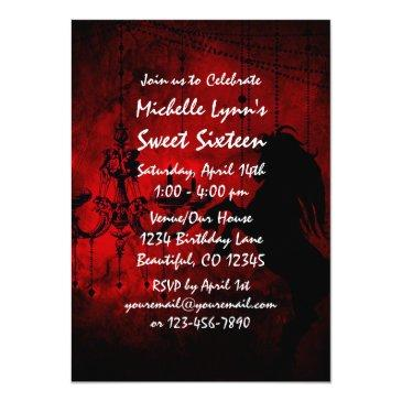 Small Horse And Chandelier Sweet 16 Birthday Invitation Back View