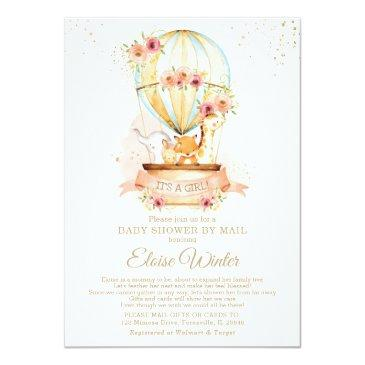 Small Hot Air Balloon Baby Shower By Mail Cute Animals Invitation Front View