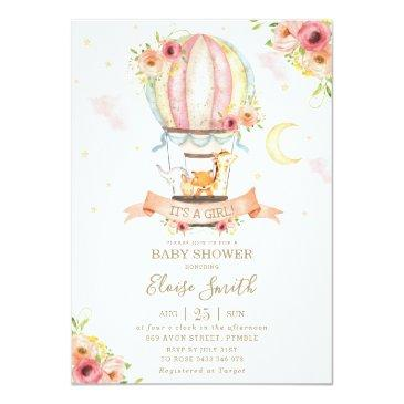 Small Hot Air Balloon Baby Shower Jungle Animals Girl Invitation Front View