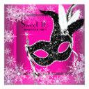 hot pink black snowflake sweet 16 masquerade party invitation