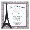 hot pink glam paris themed faux glitter sweet 16 invitation