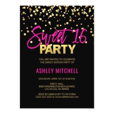 hot pink gold sweet sixteen 16 party invitations