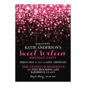 Small Hot Pink Hollywood Glitter Sweet Sixteen Party Invitations Front View