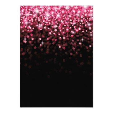Small Hot Pink Hollywood Glitter Sweet Sixteen Party Invitations Back View
