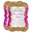 hot pink tiara princess sweet 16 gold white invite