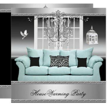 housewarming party chandelier teal silver white