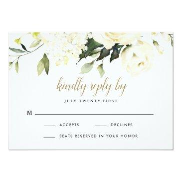 Small Hydrangea Elegant White Gold Rose Floral Wedding Rsvp Invitations Front View