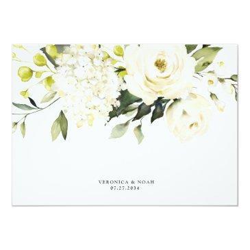 Small Hydrangea Elegant White Gold Rose Floral Wedding Rsvp Invitations Back View