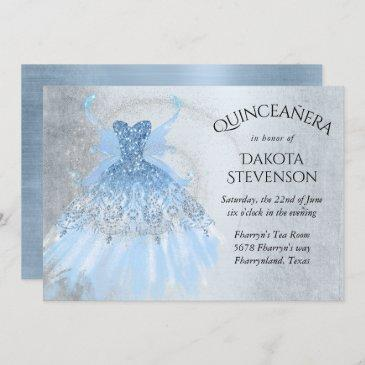 ice blue iridescent pixie wing gown   quinceanera invitation