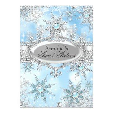 Small Icy Blue Princess Winter Wonderland Sweet 16 Invitations Front View