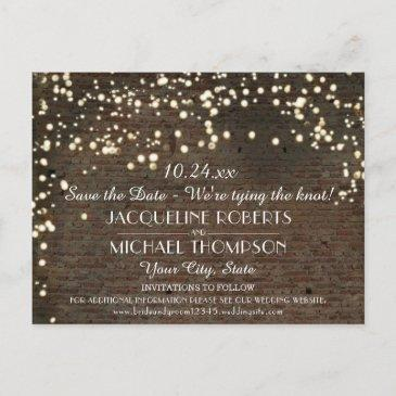 industrial warehouse urban brick string lights announcement postinvitations