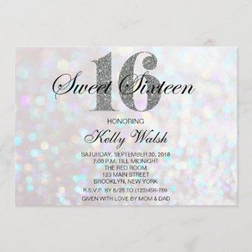 iridescent sweet 16 silver glitter invitation
