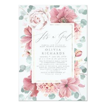 Small It's A Girl Dusty Rose Floral Cute Baby Shower Invitation Front View