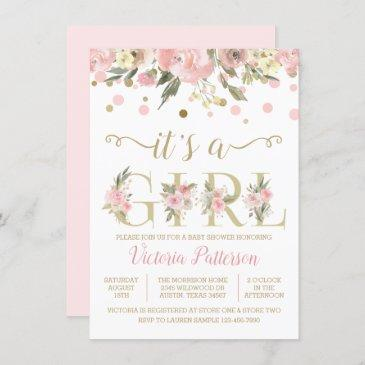 its a girl watercolor floral baby shower invitation