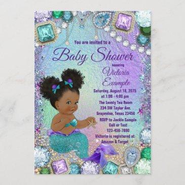 jewel mermaid afro hair baby shower invitation