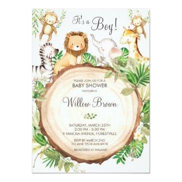 Small Jungle Animals Baby Shower Greenery Safari Boy Invitation Front View