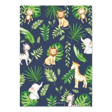 Small Jungle Animals Baby Shower Greenery Safari Boy Invitation Back View