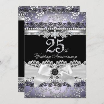 lace pearl bow silver purple 25th anniversary invitation
