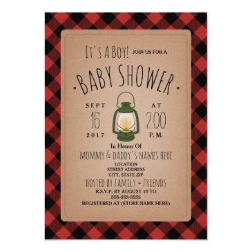 lantern lumberjack plaid baby shower invitations