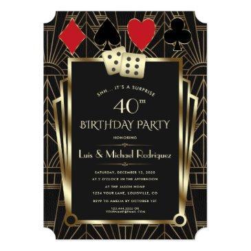 Small Las Vegas Casino Royale Great Gatsby Birthday Invitation Front View