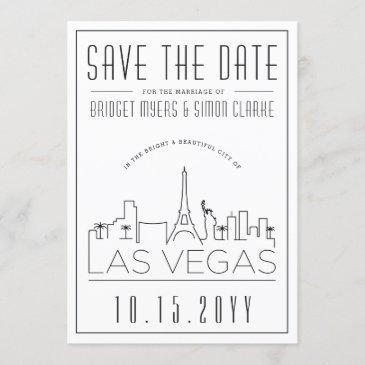las vegas wedding   stylized skyline save the date invitation