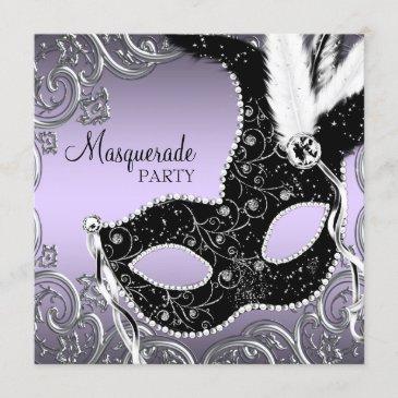 lavender and black mask masquerade party invitation