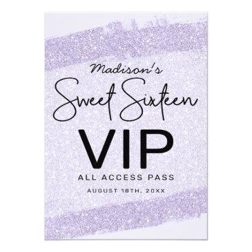 Small Lavender Brush Glitter Sweet 16 Invitation Vip Badge Front View