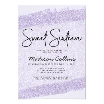 Small Lavender Brush Glitter Sweet 16 Invitation Vip Badge Back View
