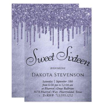 lavender drip sweet 16 party | purple chic script invitation