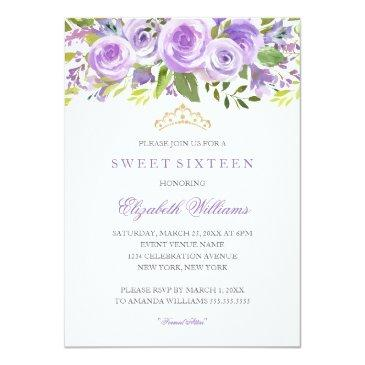 Small Lavender Floral Rose Sweet Sixteen Invitation Front View